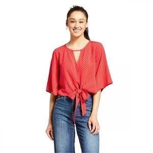 NWT Mossimo Polka Dot Peasant Top Shirt Small Red